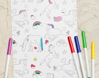 Printable PDF Unicorn Coloring Book Page - Instant Download