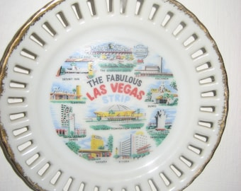 The Fabulous Las Vegas Strip Collector's Plate with Gold Trim