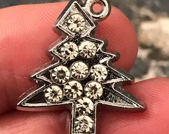 3 Beautiful rhinestone and silver tone holiday Christmas tree charms - celebrate DIY jewelry projects - earrings - bracelets - necklaces