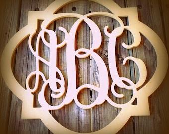 Quatrefoil Bordered Three Letter Wooden Monogram Wall Hanging