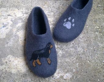 OOAK Men wool shoes Felted wool slippers Boiled wool slippers Men house shoes Rottweiler shoes Christmas gift Men wool slippers Paw print