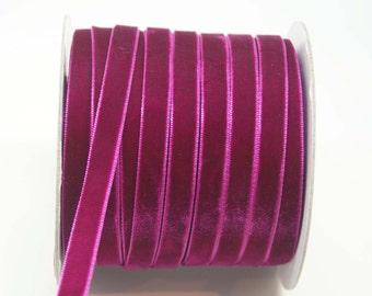 Velvet Woven Ribbon Trim -- 3/8 inches -- Plum Purple