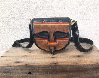 60s 70s Patent Leather and Pony Hair Jerico Saddle Bag Small Cross Body Southwestern Color Block Hippy Boho  Purse Hobo Shoulder Bag