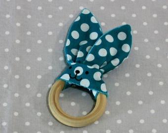 Handmade blue rabbit teething ring