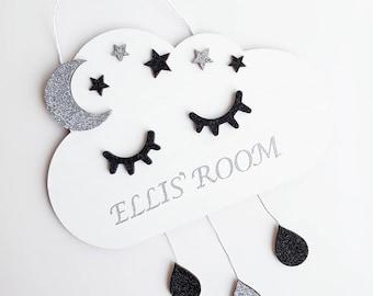 Personalised Sleepy Eyes Rain Cloud Nursery Door Plaque Baby Room Kids Children Decor Decoration Wooden Moon Stars Rainbow Glitter