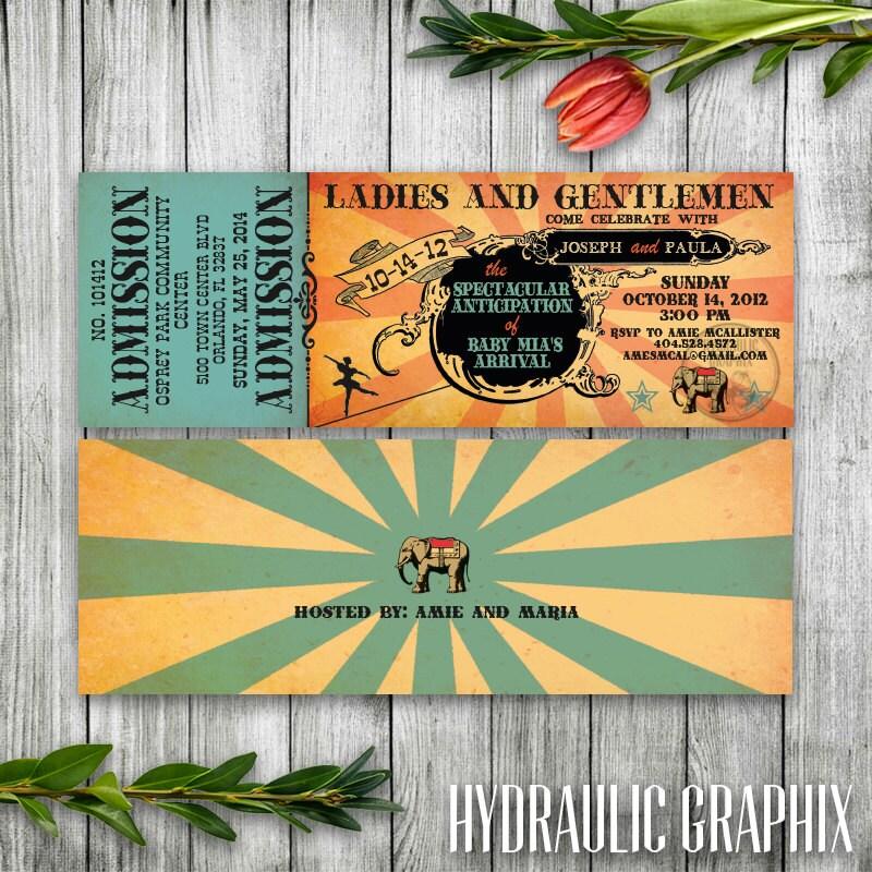 Retro Circus Baby Shower Ticket Invitation Printable Ticket