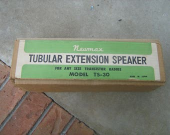 Newmax Tubular Extension Speaker TS-30 w/ Box Atomic Radio Look Mid Century for all size transistor radios made in Japan