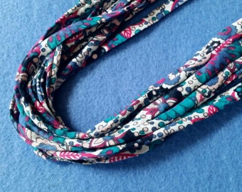 Recycled T-shirt Fabric Necklace - magenta, blue, and teal floral print, upcycled tshirt necklace tarn tshirt yarn