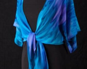 Silk Shrug Jacket, Hand Dyed Hand Painted, Moonlight Beach