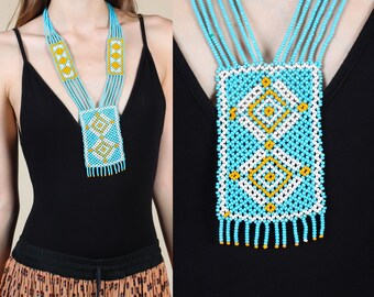 Vintage Beaded Necklace // Southwestern Native American Boho Jewelry