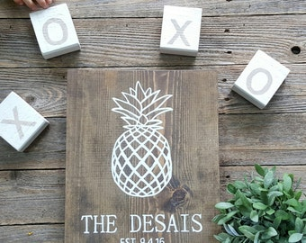 Pineapple Established Sign, Custom Established Sign, Family Name Sign, Wooden Sign, Baby Shower Gift, Wedding Gift, Anniversary Gift