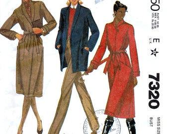 McCall's 7320 Vintage 80s Sewing Pattern for Misses' Coat or Jacket - Uncut - Size 12 - Bust 34