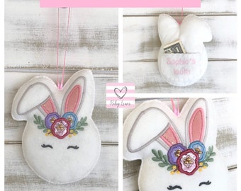 Ready to Ship!!!! Personalised Bunny Rabbit Tooth Fairy Pillow with Back Pocket.