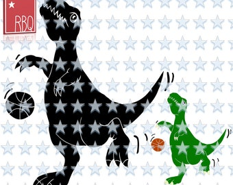 T Rex Basketball Tyrannosaur Play Ball Dinosaur Playing TRex Boy girl Dino lover cut file SVG dxf EPS Jpeg PNG pdf Vector commercial use
