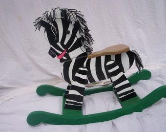 Handmade wooden rocking horse\/zebra