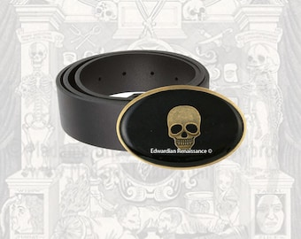 Skull Belt Buckle Inlaid in Hand Painted Glossy Black Onyx Enamel Goth Inspired Available in Other Colors