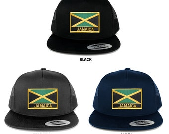 FLEXFIT 5 Panel Jamaica Flag Shield and Text Embroidered Patch Snapback Mesh Cap (6006-FPR120)