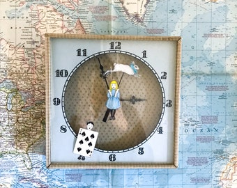 70s 80s • Paper Cut Out Alice in Wonderland Wall Clock