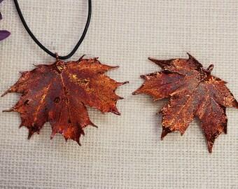SALE Leaf Necklace, Copper Leaf, Canadian Maple Leaf, Maple Leaf, Real Sugar Maple Leaf Necklace, Leaf Pendant, SALE378