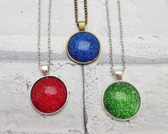 Druzy necklace,sparkly pendant,glitter necklace,bridesmaid necklace,galaxy necklace,birthday gift for her,blue glitter pendant,red jewelry