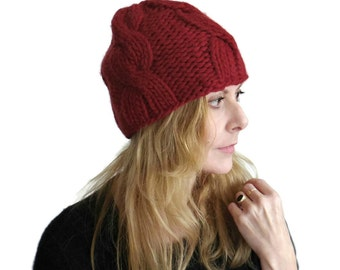 Chunky Cable Beanie Hat Peyton Thick Mans Womens Fitted Winter Cap Hand Knit Red Wool Size M