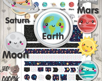 Solar System Stickers, Planner Stickers, Universe Planner Stickers, Universe Stickers, Planet Stickers, Space Stickers