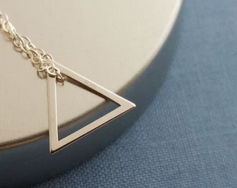Silver Triangle Necklace, Sterling Silver Necklace, Dainty Triangle, Triangle Charm, Geometric Necklace, Geo Jewelry, Layering Layered