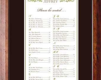 Flourish Seating Chart, Digital, Print Yourself, Table Assignment, Vintage, Victorian, Wedding, Event, Choose Small, Medium or Large