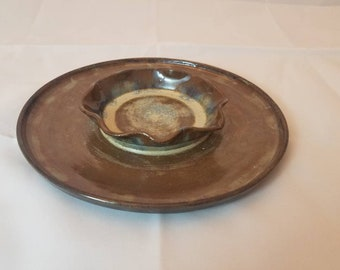 Handmade Pottery Platter / Gifts for Her / Gifts for Him / Wheel Thrown Veggie Tray / Chips and Dip Bowl / Unique Gifts / AMarshPottery