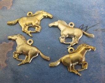 2 PC Running Mustang / Stallion horse charm - 1 lft / 1 rt facing- VV01 & VV03