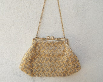 Small Vintage Gold Beaded Evening Purse with Chain - Fancy, 1960's Glamour