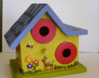 "Hand Painted Mini Birdhouse ""Bananimals"""