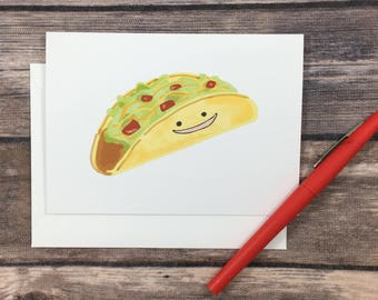 taco card - blank greeting card - cute taco - friend card - foodie card - card for him - chef card - cooking card - taco tuesday card