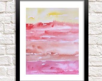 Sunset painting, Watercolor Tropical art, Abstract watercolor print, sky print, Orange wall art, Beach house wall art, sunrise painting