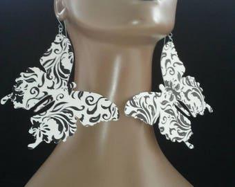 Black and White Damascus Print Butterfly Plastic Earrings, Large Fabric Earrings, Women Earrings, Large Earrings, Big Earrings