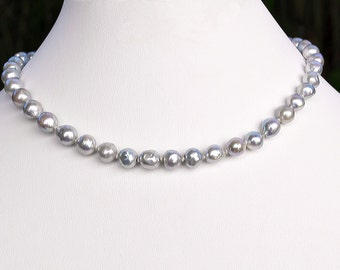 XXX Luminous Estate GREY South Sea Baroque 8mm PEARLS Necklace Choker 16""
