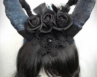 Shaman, Horn headdress, goat horns, cosplay horns, krampus, gothic, lolita, steampunk, victorian, fantasy