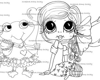 INSTANT DOWNLOAD Digital Digi Stamps Big Eye Big Head Dolls Digi  My - Besties  IMG802 With Pinkles By Sherri Baldy