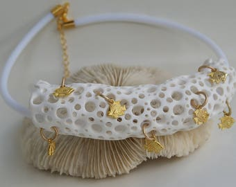 White Coral Necklace Statement Necklace coral reef bridal coral Necklace Bib Necklace Gift For Her Artisan jewellery Gold fish