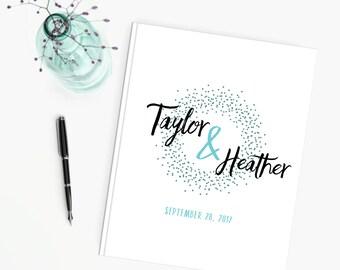 Wedding Guest Book, Personalized Wedding Guestbook, Reception Guest Sign In Ideas,  Confetti Fun Modern Wedding Decor Custom Signature Book