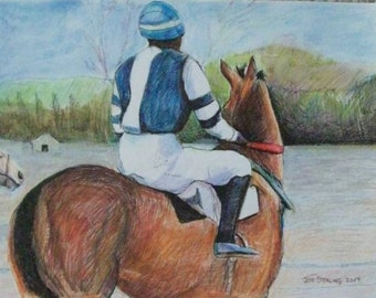 Racehorse and Jockey Misty Morning Texas Scene - ORIGINAL PAINTING in Frame