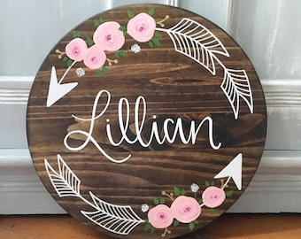 Custom Name Sign - with floral arrows