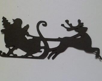 Silhouette Die Cut Flying Santa and Reindeer x 10