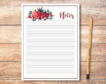 PDF Printable Notes: Cranberry and Navy