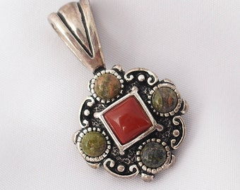 Silver Pendant with Red Coral Unakite and Jasper Valentines Gift for Her