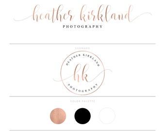 Rose Gold Logo Photography Logo Calligraphy Logo Watermark Realtor Logo Branding Package Marketing Kit Lash Logo Doula Logo Real Estate Logo
