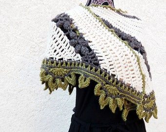 Badiane shawl - Crochet pattern to make a sideways shawl in ANY yarn and ANY size - PDF