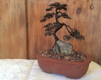 Miniature Wire Bonsai Tree Sculpture Mounted Over Cotswold Stone