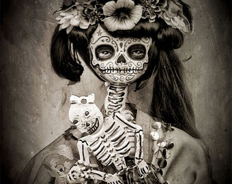 Beautiful Mortal Dia De Los Muertos Tattooed Doll Holding Skeleton PRINT 430 by Michael Brown