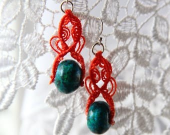 Orange and Teal Boho Macrame Earrings ~ Fun Macrame Jewelry